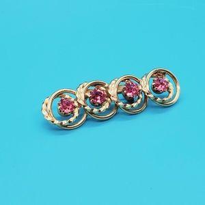 🆕️•Vintage goldtone, pink rhinestone brooch